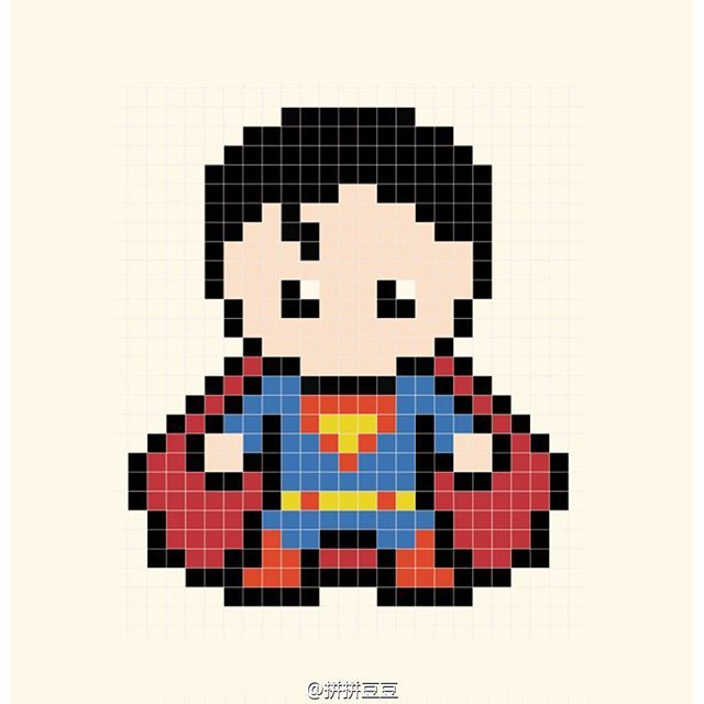 Superman Perler Bead Pattern Mas Padrao Ponto Cruz Bordado