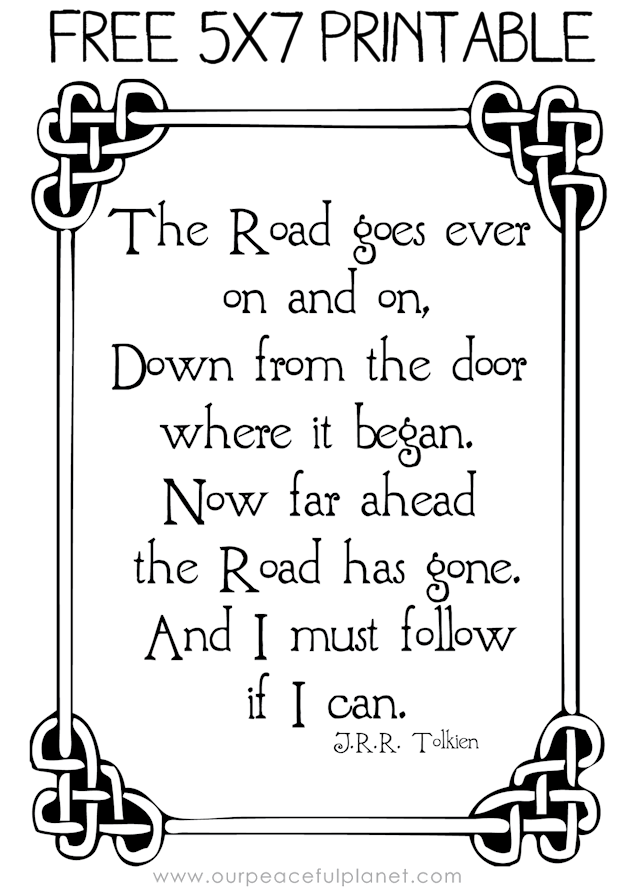 The Road Goes Ever On... J.R.R.Tolkien Quotes | Craft activities ...