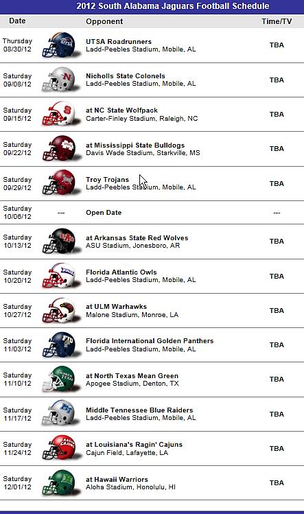 South Alabama Jaguars Football Team 2012 Schedule Ohio