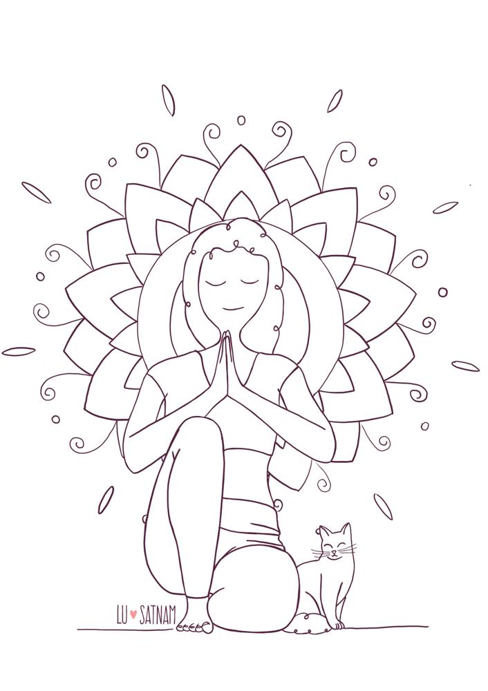 Ilustración Para Colorear Dibujos Yoga Para Niños Y