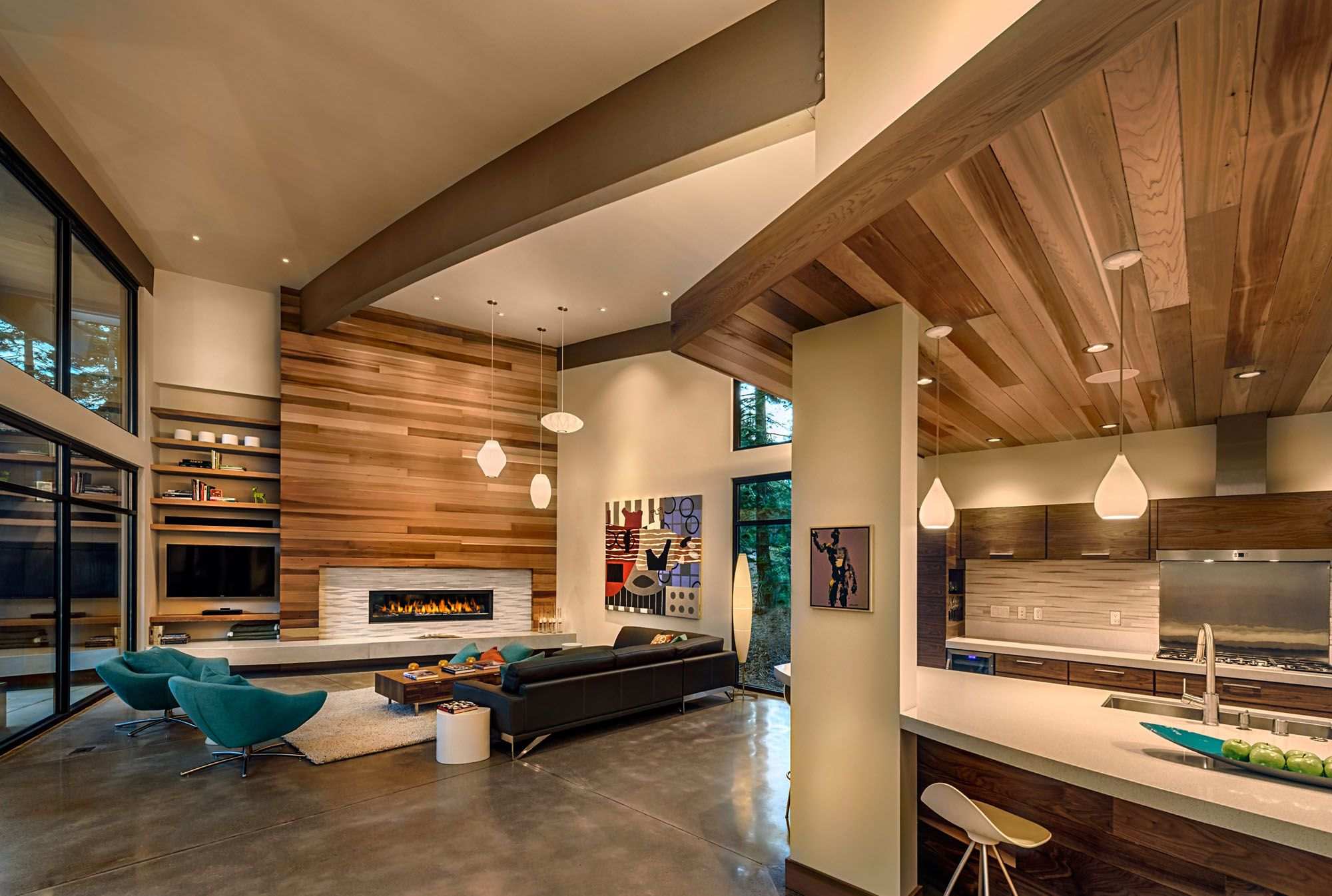 Kitchen and living area features polished concrete floors