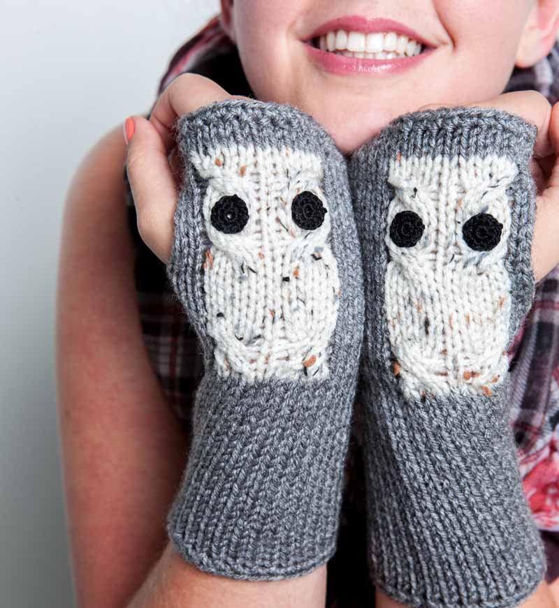 Knit Fingerless Gloves Cream Owl Gloves Winter Accessories Womens ...
