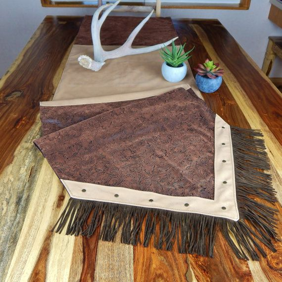 Gentil Western Table Runner Tooled Leather With Fringe And By LizzyandMe