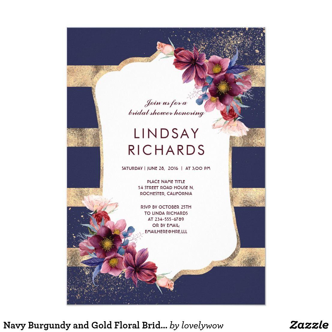 Navy burgundy and gold floral bridal shower card bridal showers