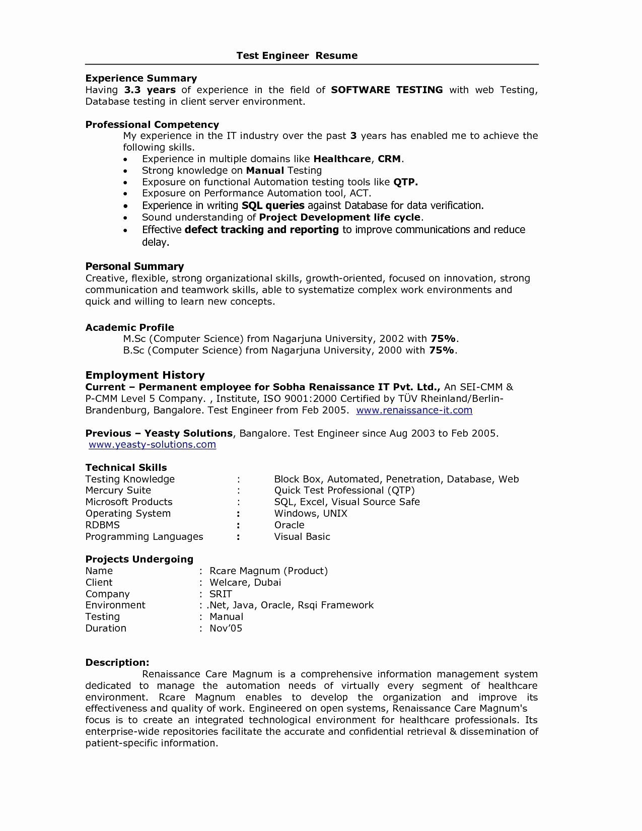 Software Testing Resume 5 Years Experience Awesome Sample Resume For Software Engineer With 5 Years Resume Examples Basic Resume Examples Resume No Experience
