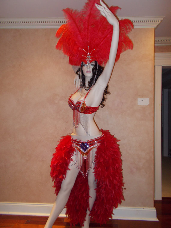 Beautiful Showgirl Samba Burlesque Performance Costume u0026 Matching Headdress (Over-the Top). Rio Carnival CostumesHalloween ... & Beautiful Showgirl Samba Burlesque Performance Costume u0026 Matching ...