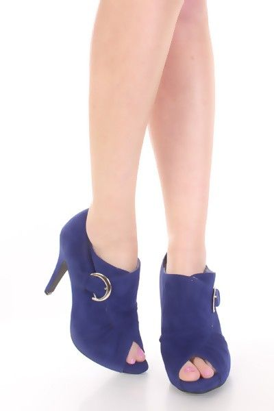 #Blue #Faux #Suede Side Buckle #Peep #Toe #Ankle #Booties. This is a very sexy pair of ankle booties that are adorably chic and trendy! Featuring faux suede exterior, inner faux fur lining, side buckle detail, cushioned footbed, and finished off with peep toe to add an extra bit of flair.My #cheap #women #shoes #collection #dental #poker