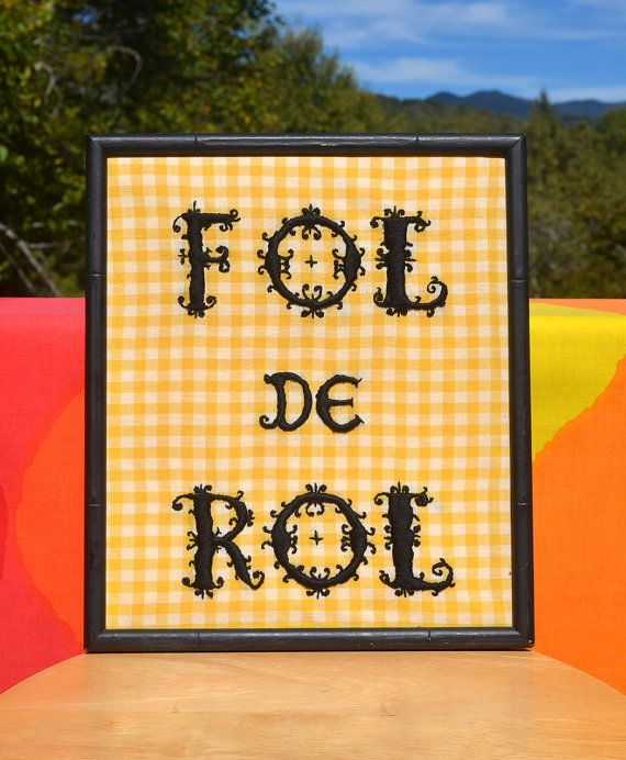 vintage 70s needlepoint wall hanging FOL de ROL by skippyhaha ...