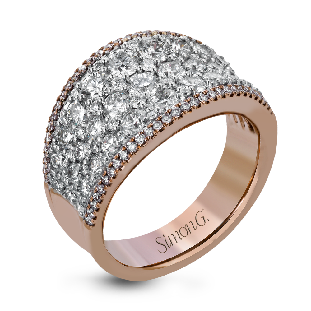 This bold statement ring is made from 18k rose and white gold and ...
