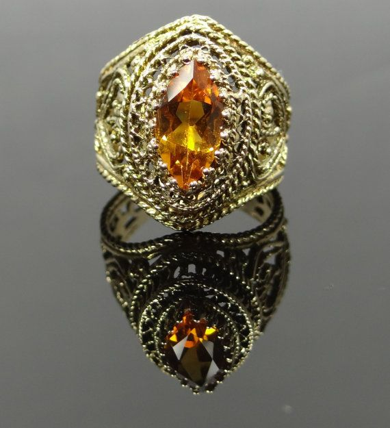 Modern Intricate Filigree Yellow Gold Wide Citrine by MSJewelers, $1285.00