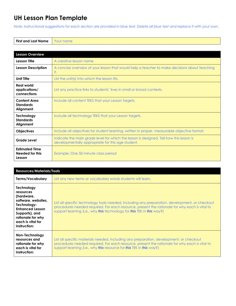 Uh Lesson Plan Template Word Document Regarding Madeline Hunter Lesson Plan Template Word In 2020 Lesson Plan Templates Madeline Hunter Lesson Plan How To Plan