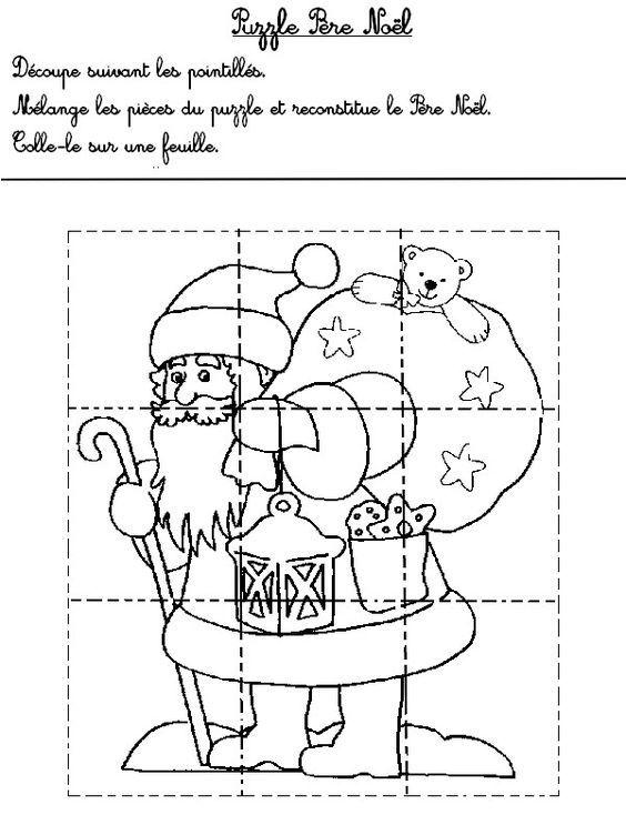 Puzzle Noël Plus | Άγιος βασίλης, Σελίδες ζωγραφικής, Χριστουγεννιάτικες χειροτεχνίες