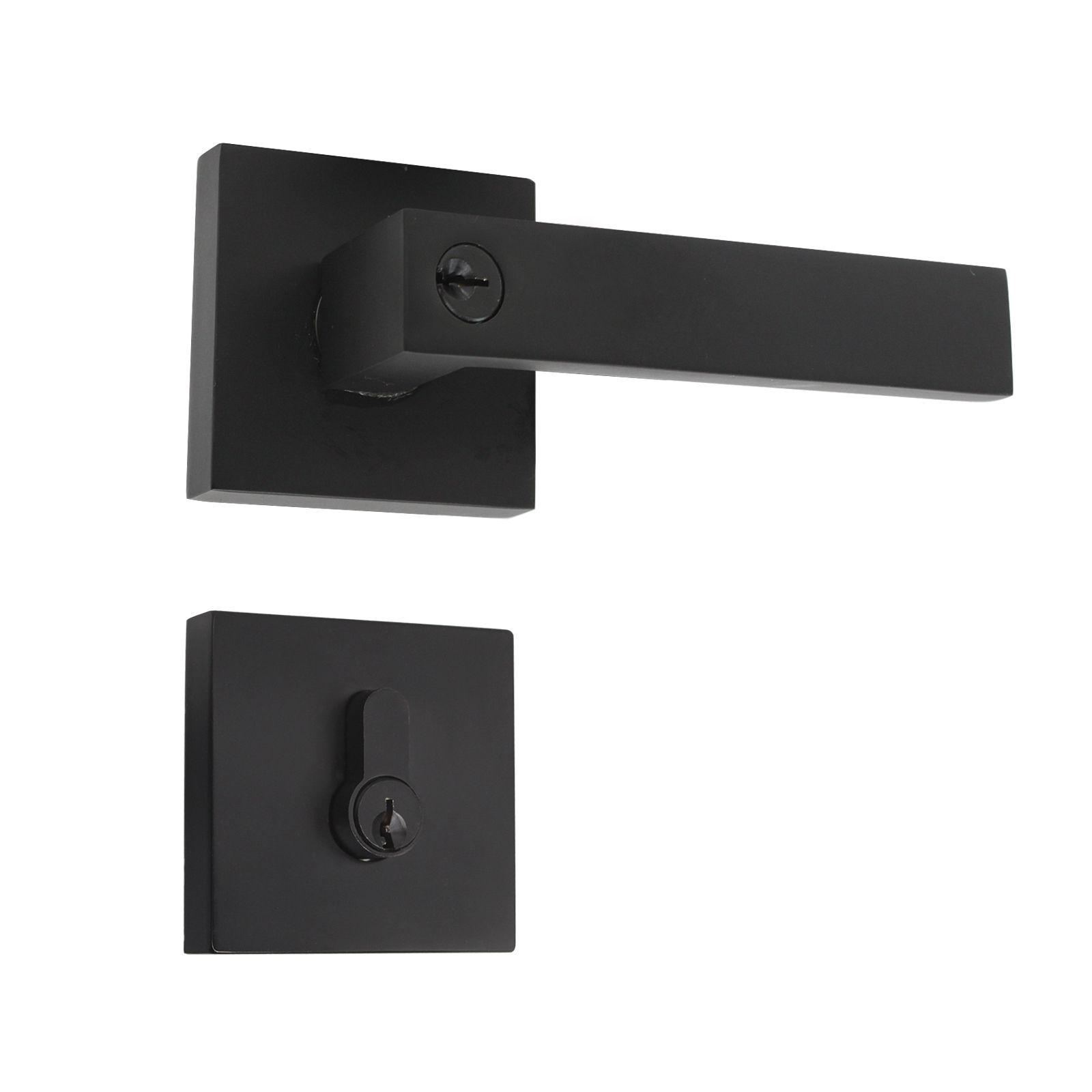 Exterior Lockset Handleset Probrico Entry Door Levers Black,Keyed Entrance Lock for Front and Back Door Universal Handing,Euro Mortise Lock