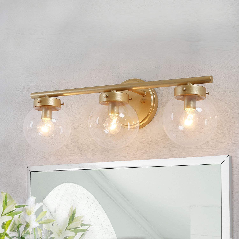 Ksana Bathroom Light Fixtures With Clear Globe Glass 19 5 L 6 W