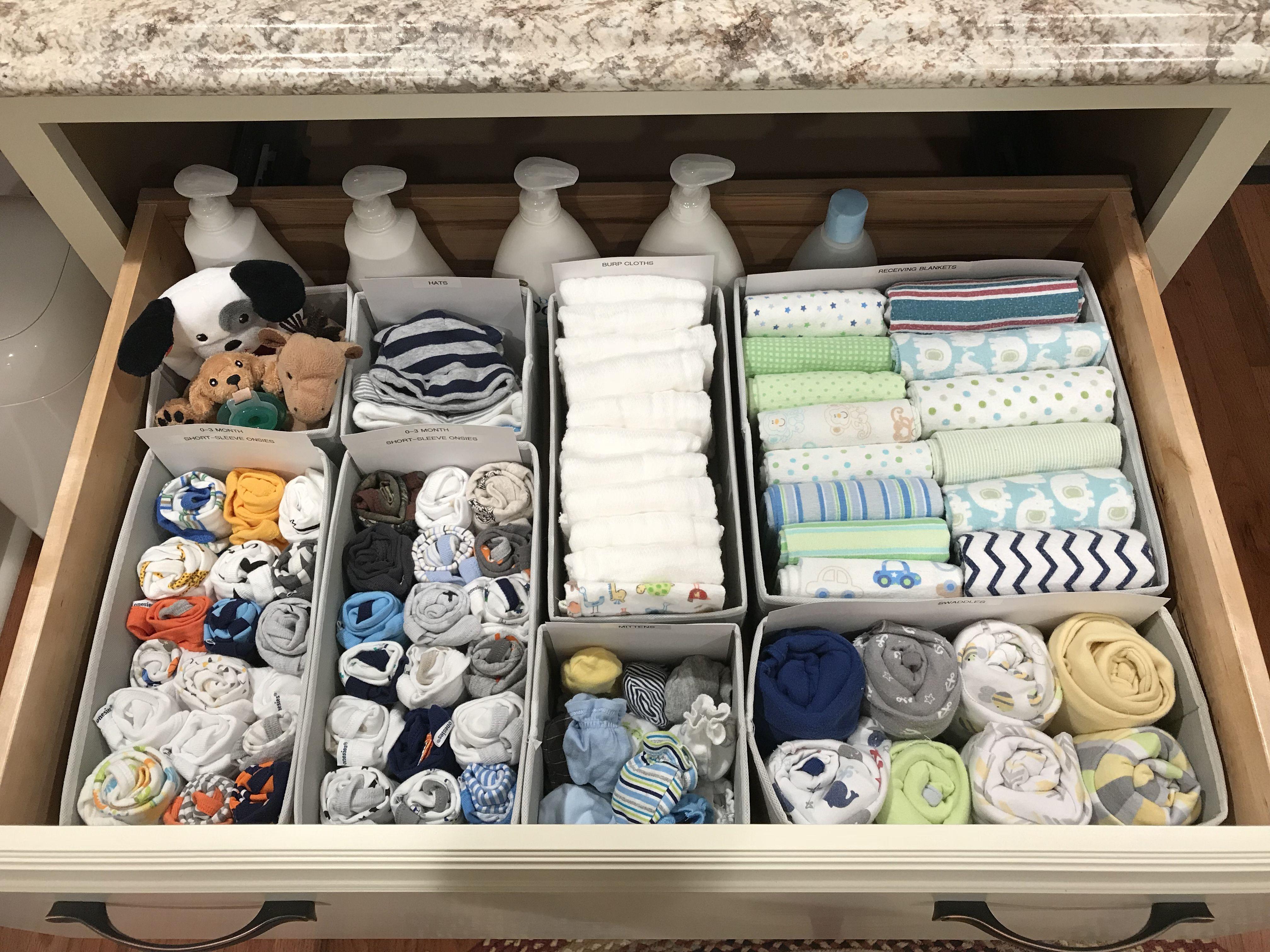 Baby Top Drawer Organized Schubladen Organisieren Babykleidung