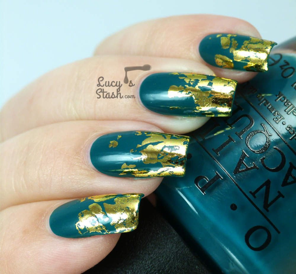 Distressed Gold Nail Foil Design with TUTORIAL http://lucysstash.com ...