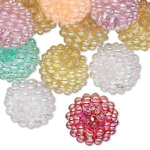 Bead mix, acrylic, assorted colors AB, 15mm round with razzleberry design. Sold per pkg of 50.