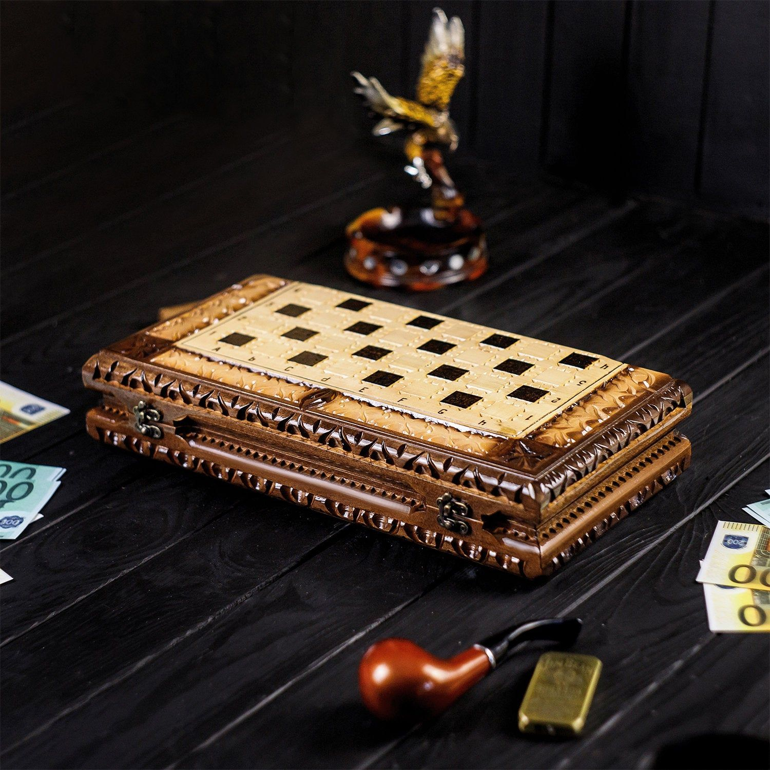 Wooden Handmade Carved Chess Checkers And Backgammon Set Best