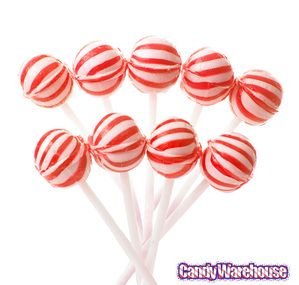 Just found Cherry Sassy Suckers Red Striped Ball Lollipops - Petite: 400-Piece Bag @CandyWarehouse, Thanks for the #CandyAssist!