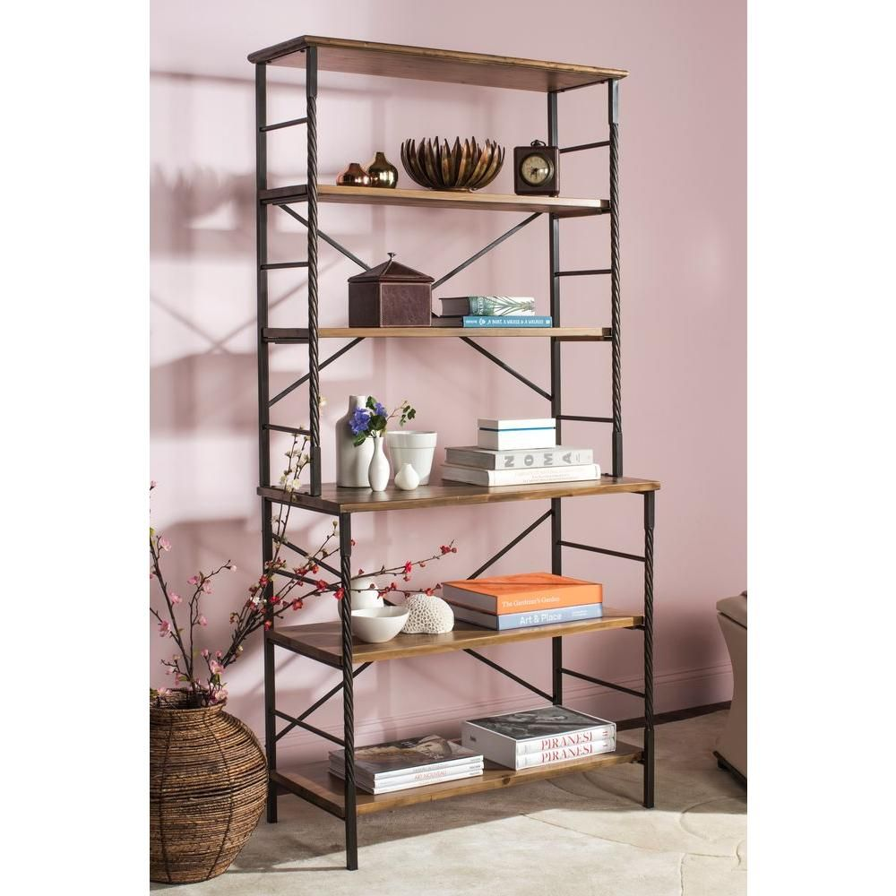 Safavieh 77 2 In Antique Pewter Brown Pine Wood 6 Shelf Etagere Bookcase With Open Back Amh6508a Etagere Bookcase Home Office Furniture Shelves