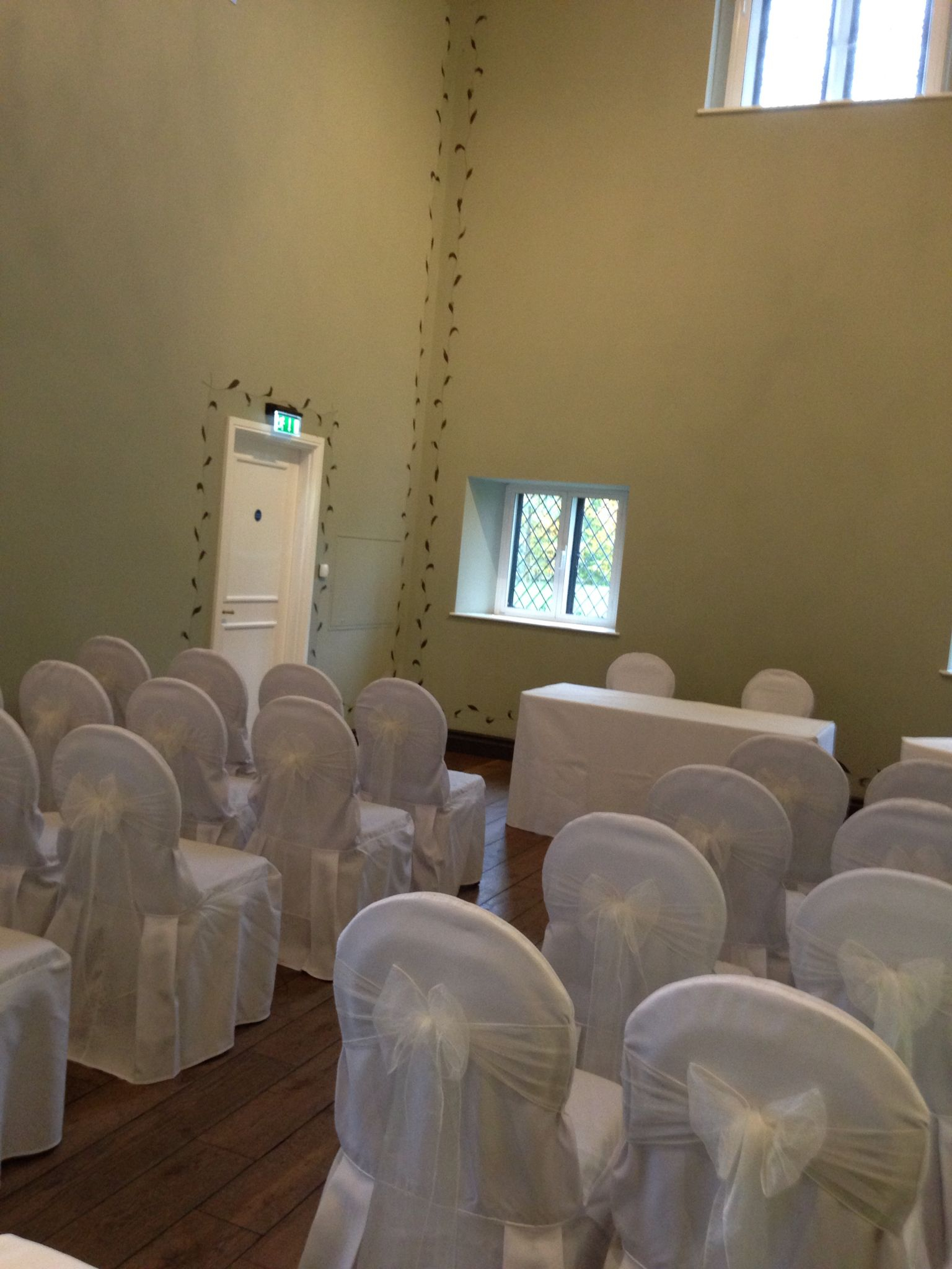 Chair covers with Ivory sashes