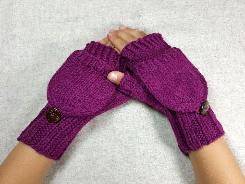Armstulpen mit Klappe für Kinder, Purpur, Bio-Wolle | Armstulpen ...