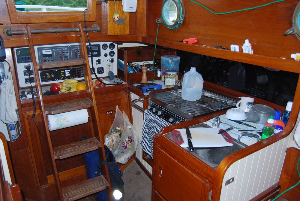 Boat galley design best features of an offshore blue water sail boat the interior boat Ship galley kitchen design