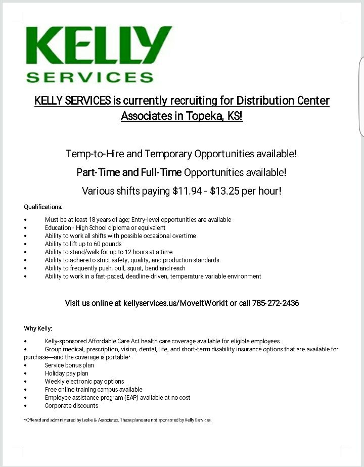 NOW HIRING - Warehouse Jobs in Topeka, KS Jobs in Topeka, KS - warehouse associate job description