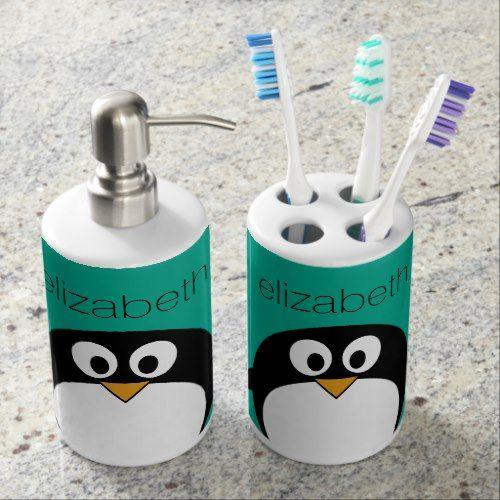 Cute Cartoon Penguin Emerald And Black Soap Dispenser