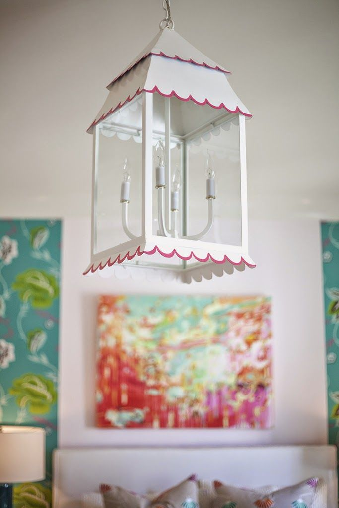 Love the Girly Hanging Lantern in this bedroom by Lucy and Company! #straydogdesigns