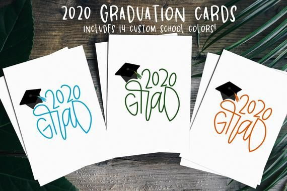 2020 Graduation Card in School Colors At Home Printable ...
