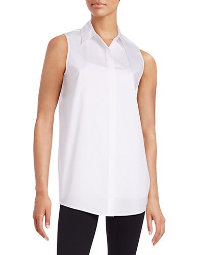 Dkny Cotton-Stretch Button-Front Shirt Women's White Small