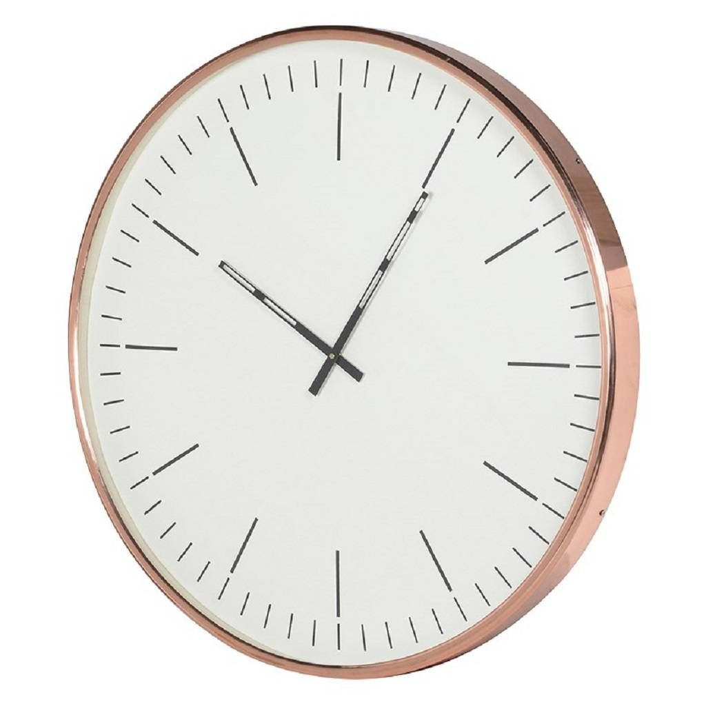 Large Round Nickel Silver Wall Clock Silver Wall Clock Wall Clock Copper Wall