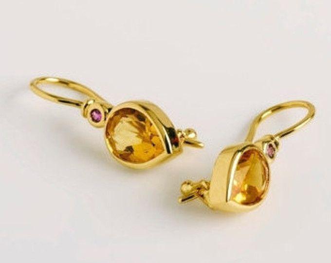 Citrine Dangle Earrings Tear Drop Earring Yellow Gemstone Jewelry 18k Gold Geometric Shire