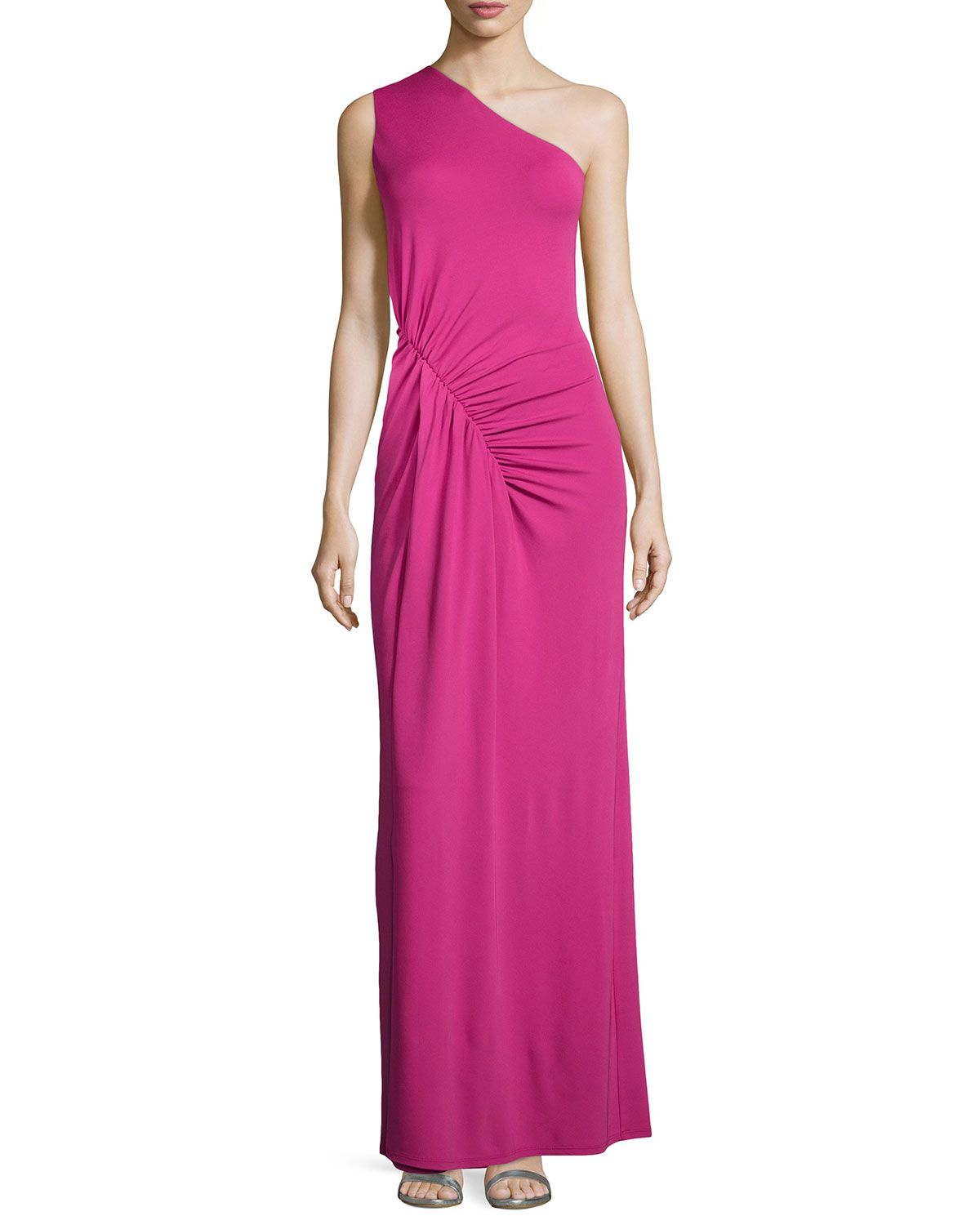 Michael kors oneshoulder ruched gown peony womenus size
