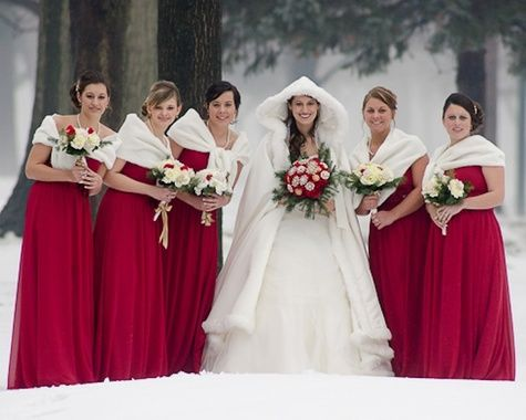 Red Bridesmaids Dresses For A Winter Wedding In The Snow