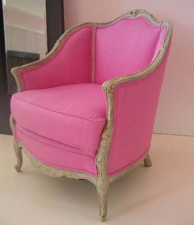 This Is A Great French Antique I Reworked It In This Fun Linen Fabric To Take Some Of The Formality Off Pink Chair Furniture Pink Home Decor