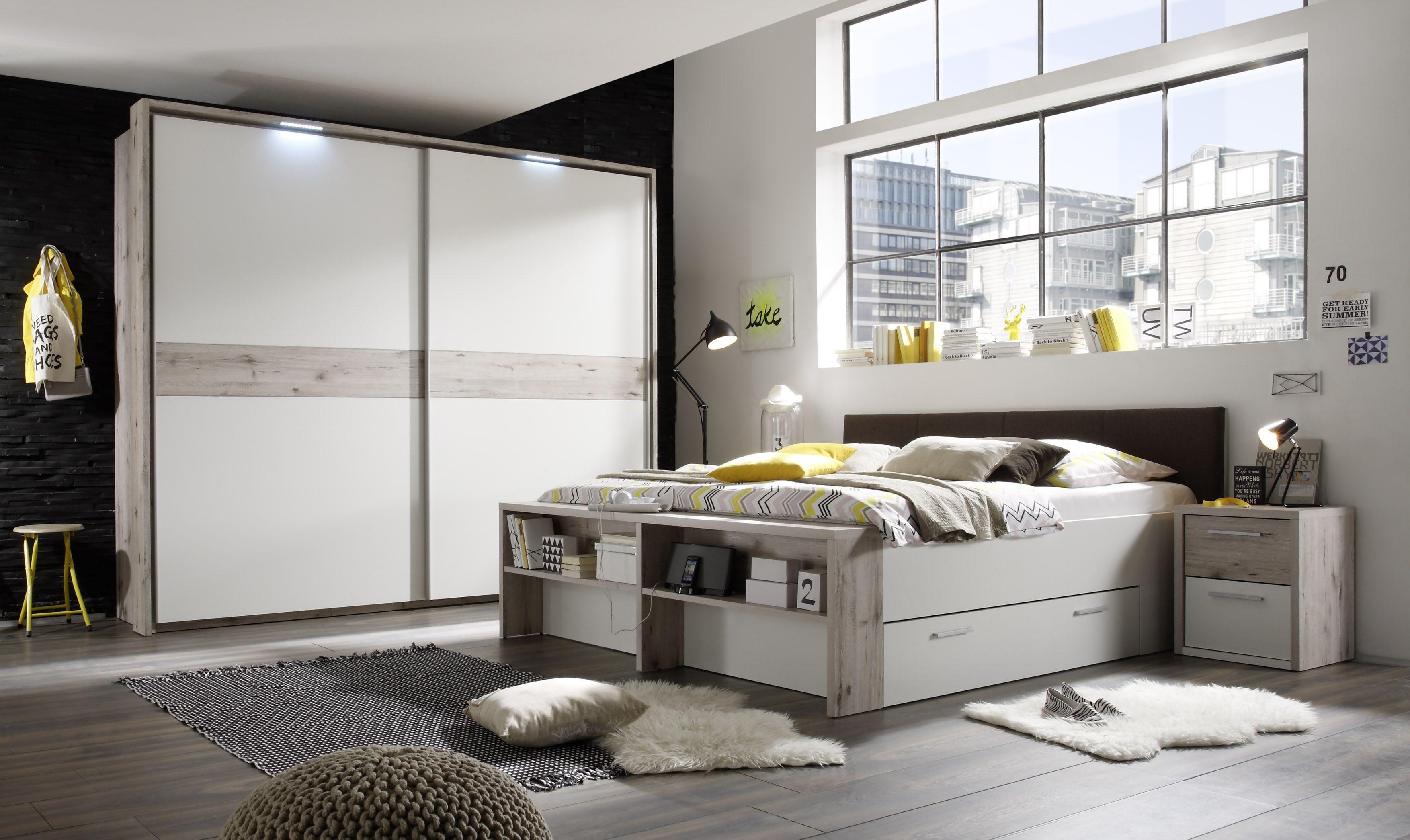 Schlafzimmer Mit Bett 180 X 200 Cm Sandeiche/ Weiss Woody