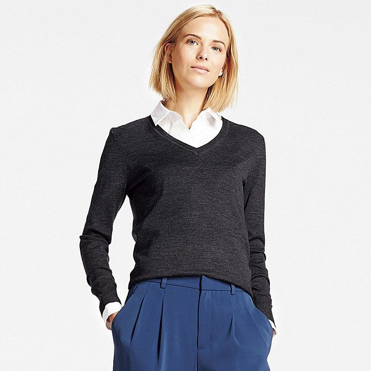 654b5fdc31 Women s Extra Fine Merino Wool V-Neck Sweater