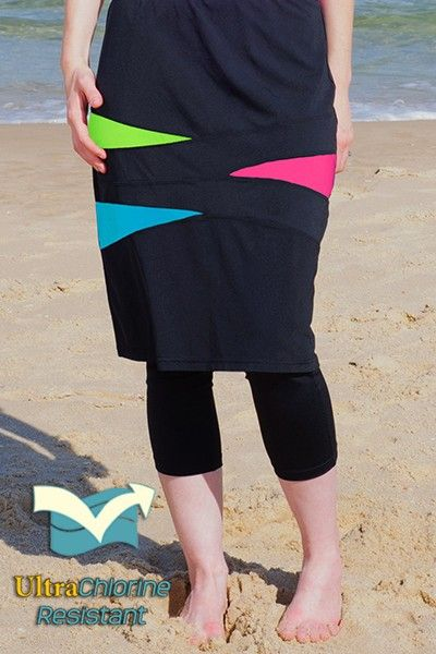53681e4e392c5 Nadadora Triangle Spliced Long Swim Skirt with Swim Leggings #hydrochic  #swimskirt