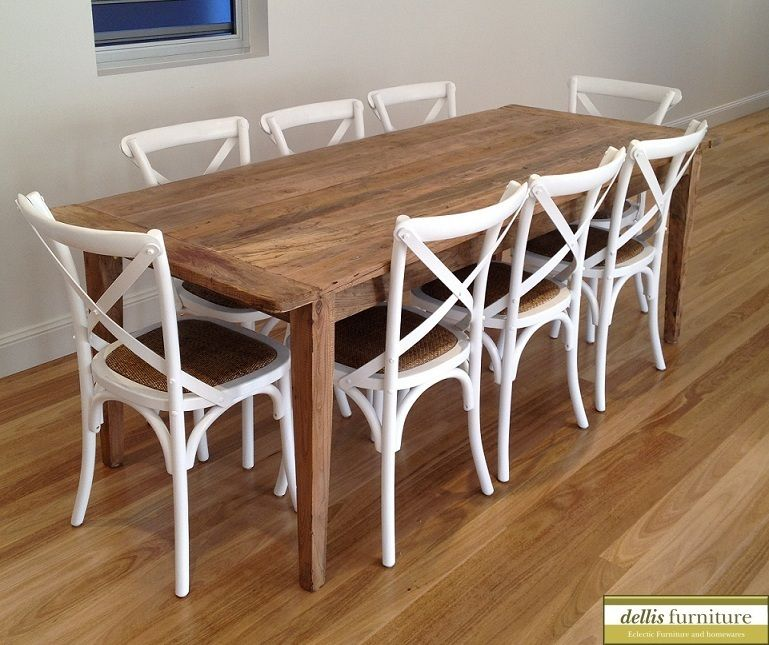 Elm Table White Cross Back Chairs Timber Dining Table Painted Dining Chairs Cross Back Dining Chairs