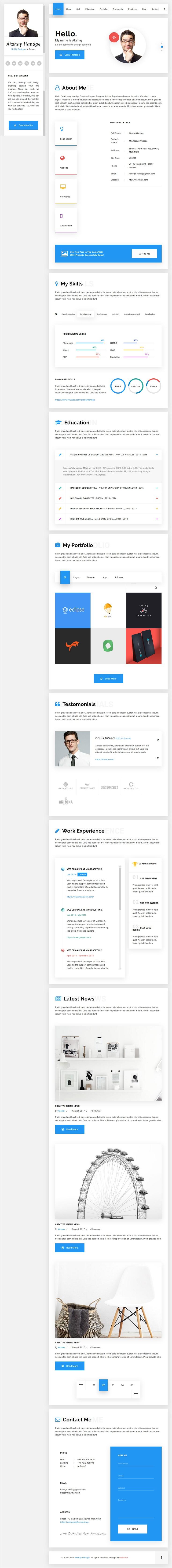Resume Html Template Hello  Resume Cv Vcard & Portfolio Material Html Template