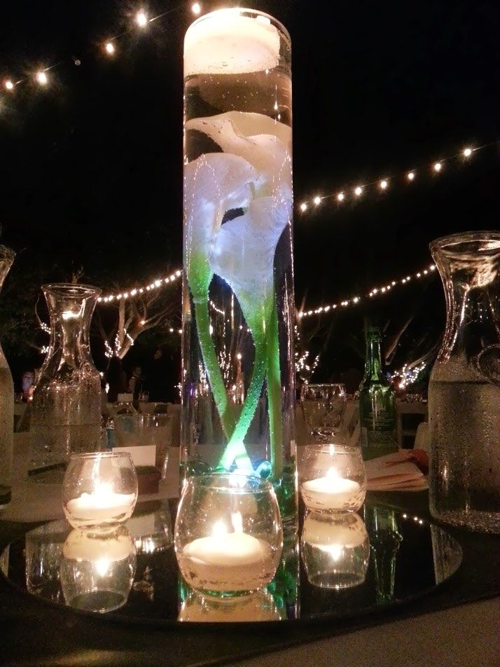 Centerpieces With Submersible Led Lights And Calla Lilly