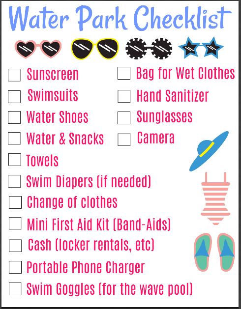 This Waterpark Checklist Has Everything You Should Bring With You For A Fun Day At The Water Park With T Water Park Amusement Park Essentials Packing List Kids