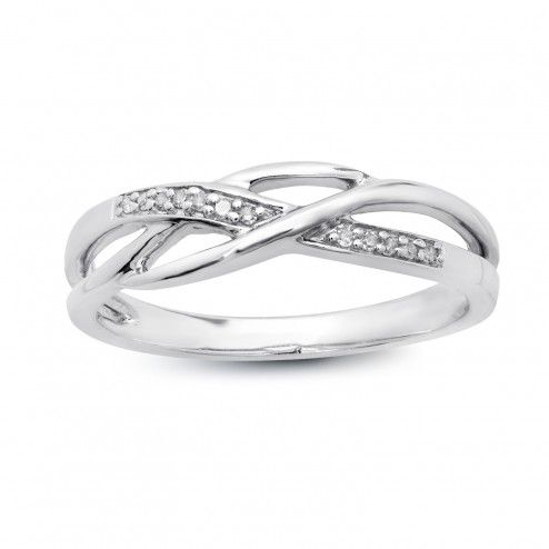 Silver and Diamond Promise Ring