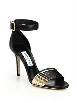 3ea460dd2320 Jimmy Choo - Livvi Leather   Metallic Leather Sandals