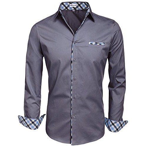 7f6f33c51 Tom's Ware Mens Premium Casual Inner Contrast Dress Shirt Shirt  TWNMS310-1-BLACKN-S