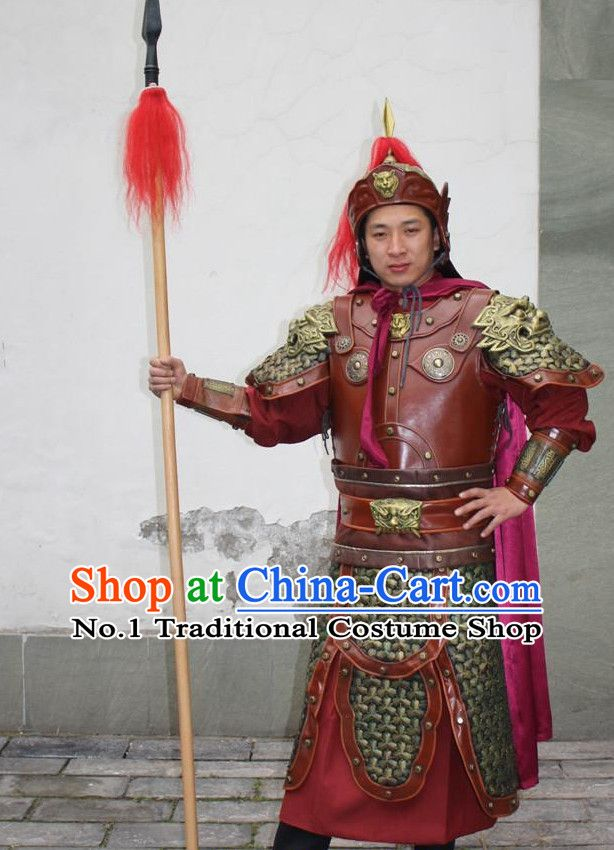 46a9f6a71 Chinese Ancient Warrior Armor Costumes and Helmet Complete Set for Men