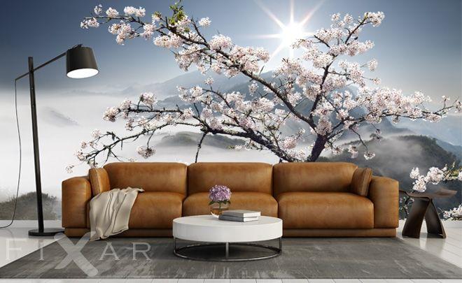 Fototapete Wohnzimmer | Bluhender Apfelbaum Fototapete Furs Wohnzimmer Pinterest