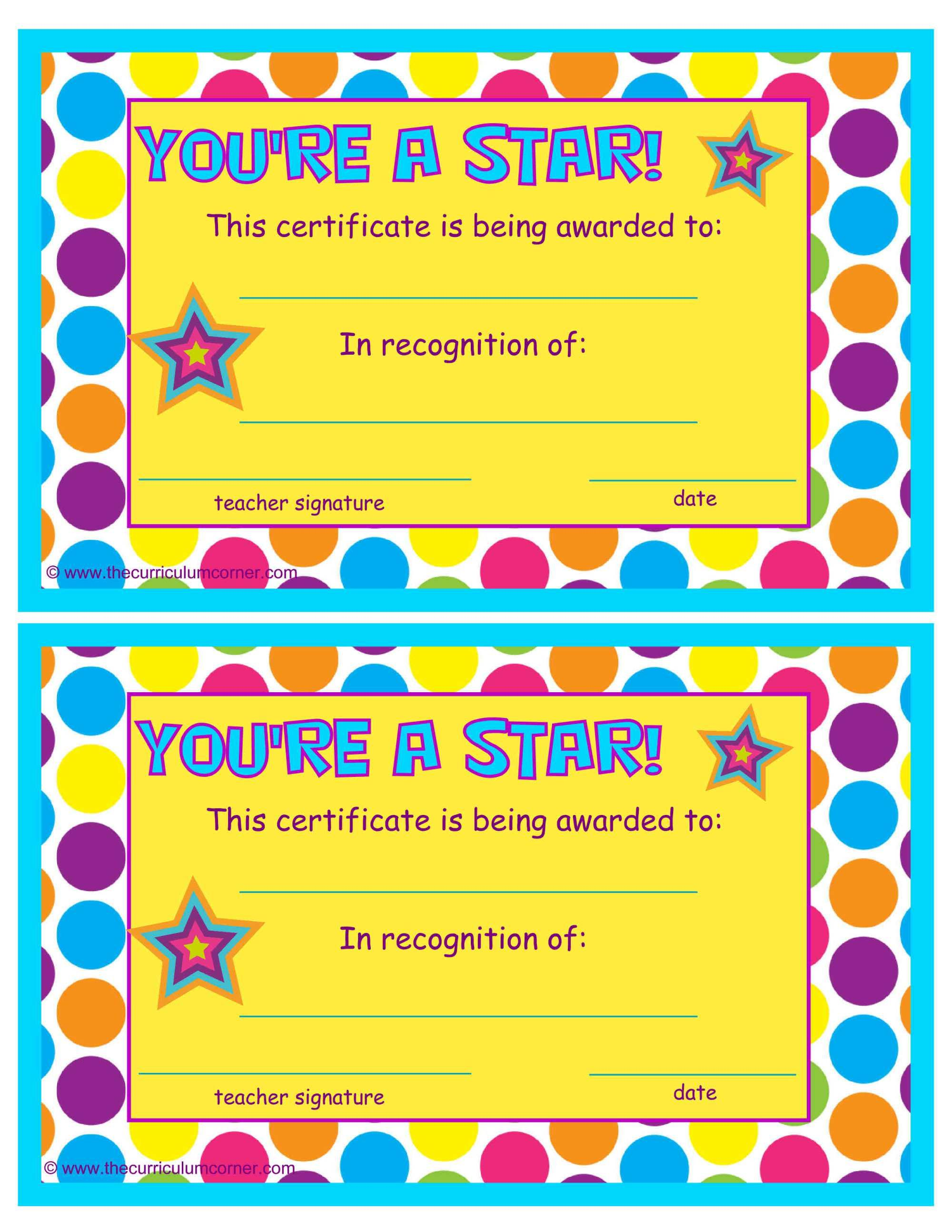 You\'re a Star End of the Year Certificates